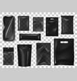 black pack realistic mock up set vector image