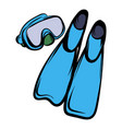 blue flippers icon cartoon vector image vector image