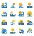 Blue Wave With Sun Icons Set vector image vector image