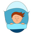 boy sleeping in bed on white background vector image