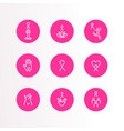 breast cancer care pink ribbon outline icon set vector image