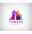 building towers up geometric logo vector image vector image