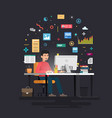 businessman marketer working at computer vector image vector image