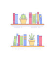 cactus succulent on bookshelf with books vector image vector image