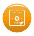 calendar fourth july icon orange vector image