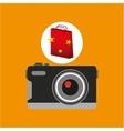 camera red bag gift star design vector image vector image