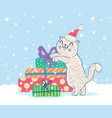 cat in santa hat with presents vector image