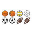 collection sport balls line style icon design vector image