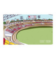 colorful drawing of cricket stadium with rows of vector image vector image
