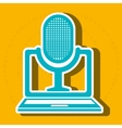 computer laptop with microphone isolated icon vector image