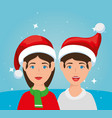 couple with december clothes vector image