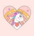 cute little unicorn with colorful hair holding red vector image