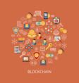 digital line icons set blockchain pack vector image vector image