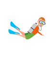 diving and man with supplies vector image