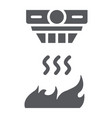 fire detector glyph icon alarm and equipment vector image vector image