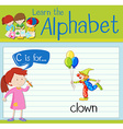 Flashcard letter C is for clown vector image vector image