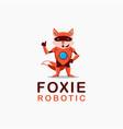 fox robot cartoon mascot logo on white background vector image
