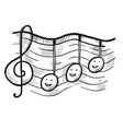 g-clef and music note with doodle face on staff vector image