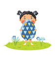girl with gigantic decorative egg vector image vector image