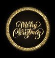 gold and black merry christmas card with hand vector image