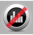 gray chrome button - no equalizer symbol vector image vector image