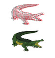 hand drawn crocodile set vector image