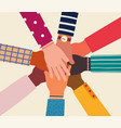 Hands diverse group people together