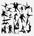 happy dance silhouette vector image vector image