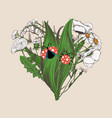 heart made hand-drawn flowers and cute ladybugs vector image