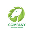 horse and green leaf vector image vector image