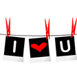 I love you concept with photo frames hanging on vector image vector image