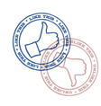 like and unlike stamps vector image vector image