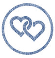 linked hearts rounded fabric textured icon vector image