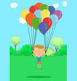 little boy flying with multicolored balloons vector image vector image