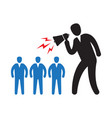 man with a loudspeaker makes a warning vector image vector image