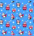penguins seamless pattern cute christmas package vector image vector image