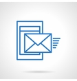 Phone mail blue simple line icon vector image vector image