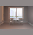 room with a window and an urban landscape vector image