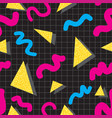 seamless pattern in memphis style vector image vector image