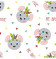 seamless pattern tribal mouse vector image vector image