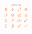 set of linear icons for ice fishing vector image