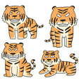 set of tiger vector image vector image