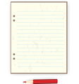 sheet of paper and a red pencil vector image vector image