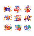shopping sale symbols set internet shopping e vector image vector image