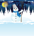 Snowman with a broom in the woods vector image vector image