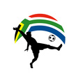soccer football player ball flag south africa vector image vector image