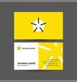 star logo with business card template vector image vector image