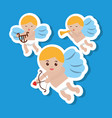 three cupid flying bow harp and trumpet vector image