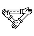 triangular hand cohesion icon outline style vector image