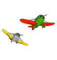 two old retro planes on white background vector image